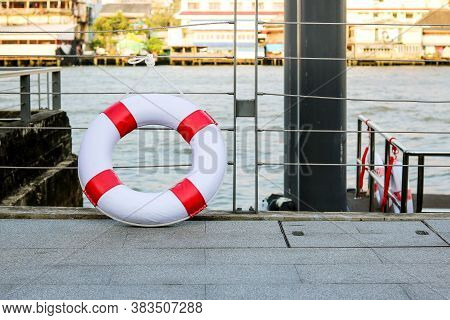 Lifebuoy On The Port For Protection And Help Passenger When The Accident