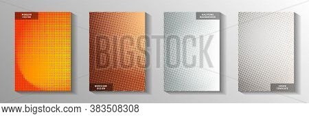 Trendy Circle Screen Tone Gradation Cover Page Templates Vector Collection. Urban Catalog Faded Scre