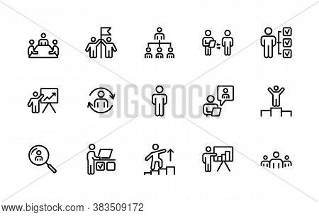 A Simple Set Of Business People Related Vector Linear Icons. Contains Icons Such As: Leadership, Peo
