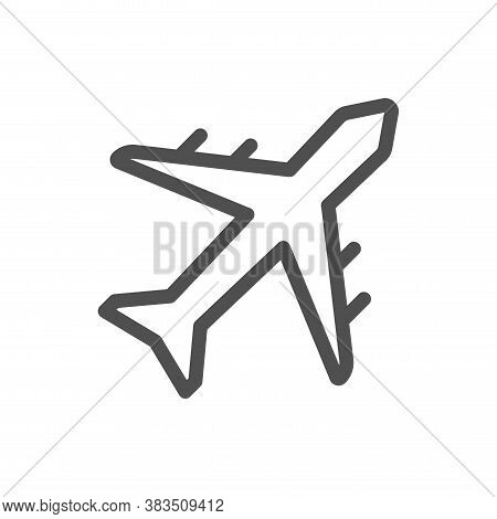 Plane Vector Icon, Airport And Airplane Pictogram Symbol. Passenger Plane. Linear Style Icon. Flat D