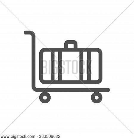 Luggage Trolley Flat Line Icon. Linear Style Icon. Flat Design Element. Editable Stroke. 48x48 Pixel