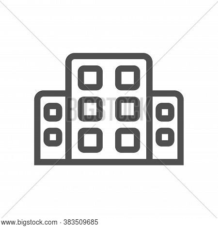 Hotel Icon Vector From Travel Collection. Thin Line Hotel Outline Icon Vector Illustration. Linear S