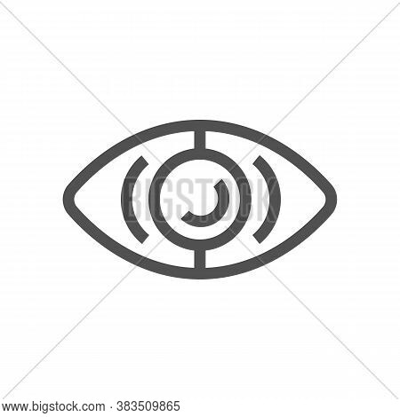 Eye Simbol. Iris Scanning Technology Concept. Selection Of Lenses For Vision. Control And Observatio