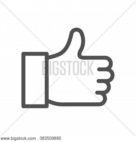 Linear Style Icon. Editable Stroke. 48x48 Pixel Perfect. Hand Finger Up Sign. Yes Logo. Approval Sig