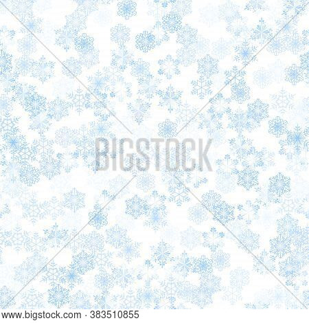 Beautiful Seamless Christmas Background With Various Complex Shining Blue Snowflakes On White. Moder