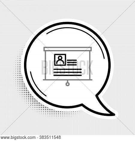 Line Board With Resume Icon Isolated On Grey Background. Cv Application. Searching Professional Staf