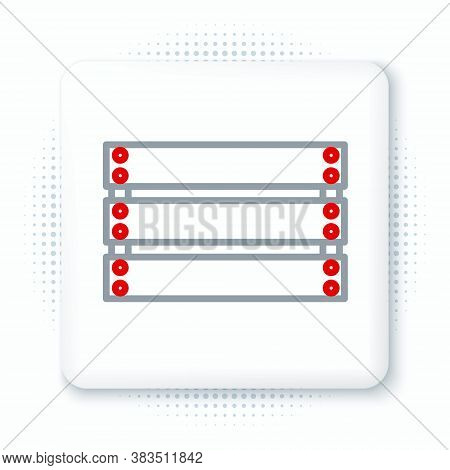 Line Wooden Box Icon Isolated On White Background. Grocery Basket, Storehouse Crate. Empty Wooden Co