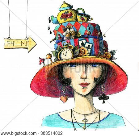 Lady With Cake Hat Like Alice In Wonderland. With Clocks, Teapot, Cup, Mushrooms And Cards. Hand Dra