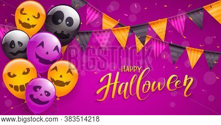 Set Of Orange, Purple And Black Balloons With Scary Smiles, Colored Pennants And Streamers On Purple