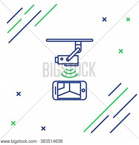Line Wireless Controlling Cctv Security Camera With Smartphone Icon Isolated On White Background. Io