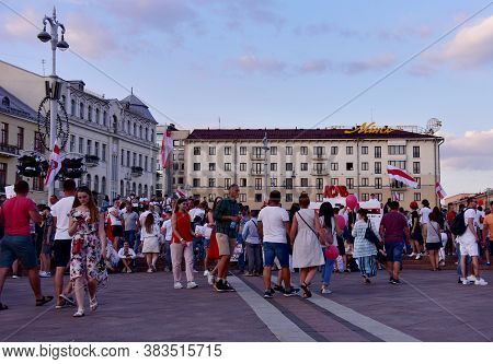 Protests In Minsk, Belarus, August 17, 2020 After Presidential Elections And Against The Police Viol