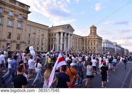 People Take Part In Demonstration In Minsk, Belarus, August 16, 2020 Against The Police Violence In