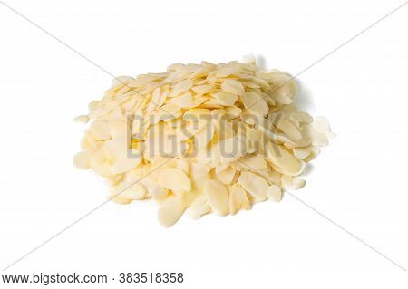 Sliced Almonds, Slivered Almonds, Peeled Or Hulled Almond Slices Pile Isolated On White Background.