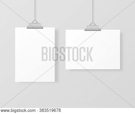 Blank Hanging Photo Frames Or Poster Templates Isolated On Background. A Set Of White Poster Mockups