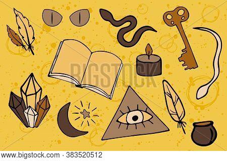 Alchemy Vector Sticker Set. Black Magic Elements In Doodle Style. Freemason Eye Of Providence And Ot