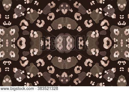 Seamless Leopard Artwork. Brown Jaguar Fur Rapport. Watercolor Spotted Tropical Wallpaper. Fashion T