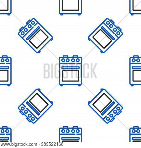Line Oven Icon Isolated Seamless Pattern On White Background. Stove Gas Oven Sign. Colorful Outline