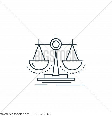 justice icon isolated on white background from analytic investment and balanced scorecard collection