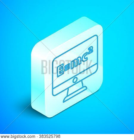 Isometric Line Math System Of Equation Solution On Computer Monitor Icon Isolated On Blue Background