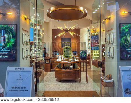 October 2018 - Seoul, South Korea: The Flagship Store Of The South Korean Luxury Skincare Brand Prim