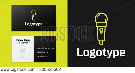 Logotype Line Microphone Icon Isolated On Black Background. On Air Radio Mic Microphone. Speaker Sig