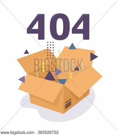 Error 404. Cardboard Box With Memphis-style Figures. Vector Illustration Of Web Error In Flat Style.