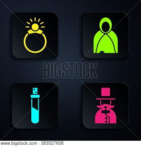 Set Magician, Magic Stone Ring With Gem, Bottle With Love Potion And Mantle, Cloak, Cape. Black Squa