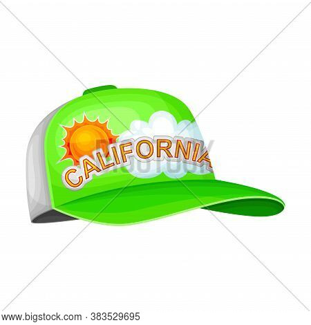 Baseball Cap With Rounded Crown And Stiff Bill As California Headdress Vector Illustration