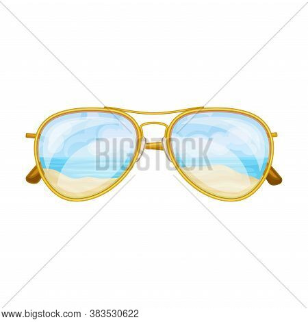 Sunglasses With Beach Reflection As Eye Protection Accessory Vector Illustration