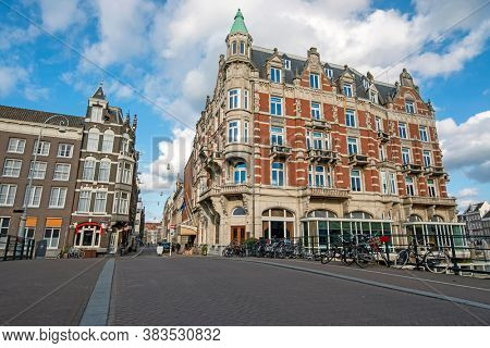 City scenic from Amsterdam at the Oude Turfmarkt in the Netherlands