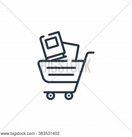 shopping cart icon isolated on white background from books and literature collection. shopping cart