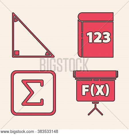 Set Chalkboard, Triangle Math, Book With Word Mathematics And Sigma Symbol Icon. Vector