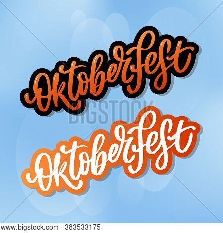 Oktoberfest Celebration Background. Happy Oktoberfest In German Lettering Typography. Beer Festival