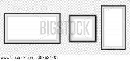 Realistic Picture Frame Set, Realistic Square Black Frames Mockup. Empty Framing For Your Design. Ve