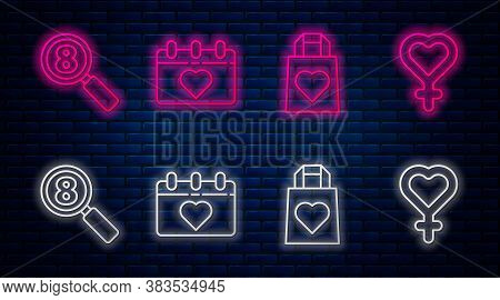 Set Line Calendar With 8 March, Shopping Bag With Heart, Search 8 March And Female Gender Symbol. Gl