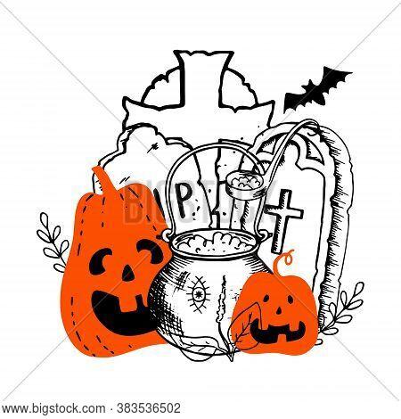 Halloween Orange Smiling Creepy Pumpkins Witchs Cauldron With Potion Headstones Celtic Cross Bat. Ha