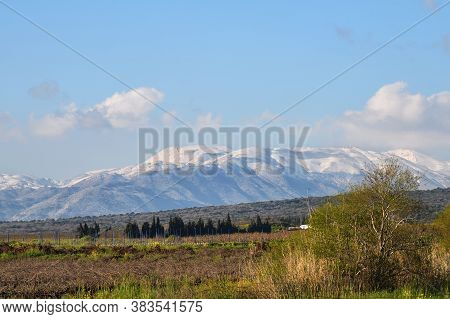 View Of The Hula Valley And Mount Hermon, Golan Heights, Northern Israel