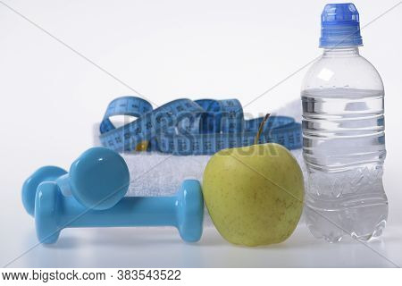 Health And Fitness Symbols. Dumbbells, Skipping Rope In Cyan Color
