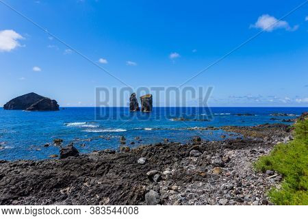 Coast by the town of Mosteiros on the island of Sao Miguel. Sao Miguel is part of the Azores archipelago in the Atlantic Ocean.
