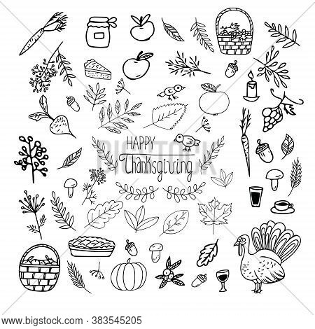 Thanksgiving Set Hand Drawn Doodle. Collection Of Elements For Design Sticker, Poster, Card, Icon. V