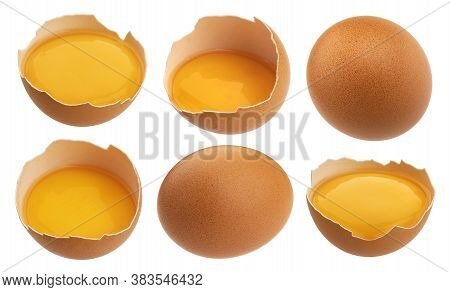 Chicken Eggs Isolated On White Background, Collection