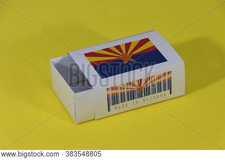 Arizona Flag On White Box With Barcode And The Color Of State Flag On Yellow Background, Paper Packa