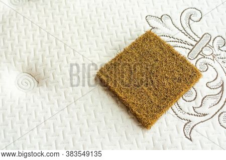 Mattress Filler. Coconut Coir. The Concept Of Filling A Mattress. Technology Concept.