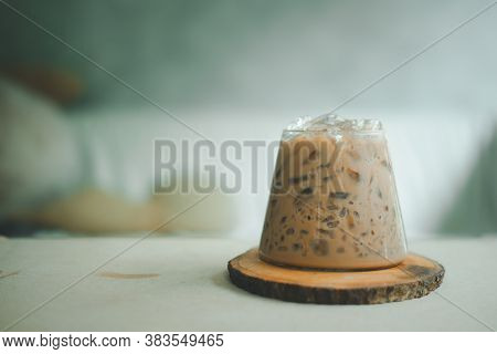 Coffee Mocha With Ice In A Small Glass. Show Ice Cube In Glass It Refreshing Drink