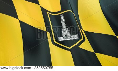 Fluttering Flag Of Baltimore City. Maryland. United States. High-quality Realistic Render. 3d Illust