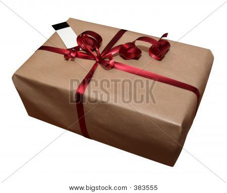 Gift On White With A Blank Card