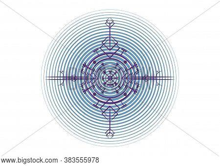 Magic Ancient Viking Art Deco, Vegvisir Magic Navigation Compass Ancient. The Vikings Used Many Symb