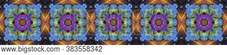 Aztec Rugs. Abstract Ikat Design. Dark Neon Seamless Texture. Seamless Tie Dye Rapport. Ikat Mexican