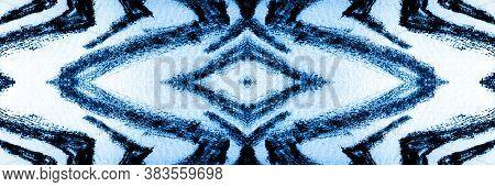 Wavy Line Seamless Pattern. Indigo Tiger Head Japanese. Turquoise Animal Prints Seamless. Black Safa