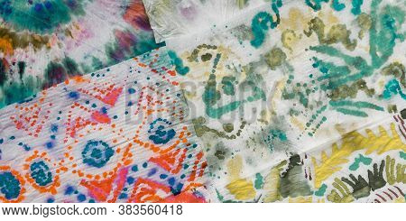 Grunge Oil Acrylic. Multicolor Dirty Watercolor Print. Colorful Acrylic Paint Strokes. Multicolor Ti